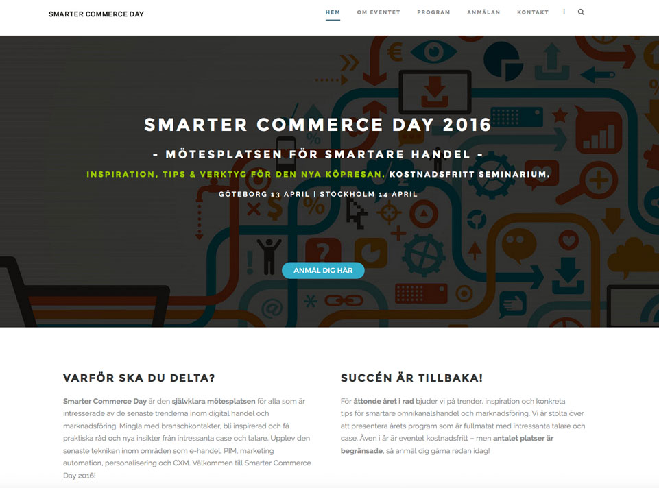 Hemsida Smarter Commerce Day 2016